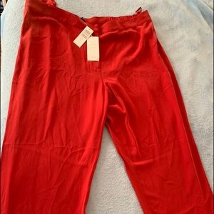 New with tags Ellen Fisher red silk pants 2X